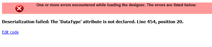 ssrs deserialization failed error